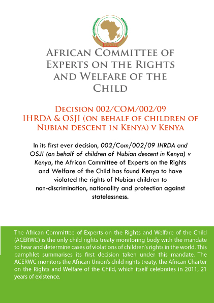 ACERWC decision on nationality of Nubian children – summary